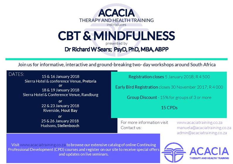 CBT & MINDFULNESS Training Presented by Dr Richard W Sears