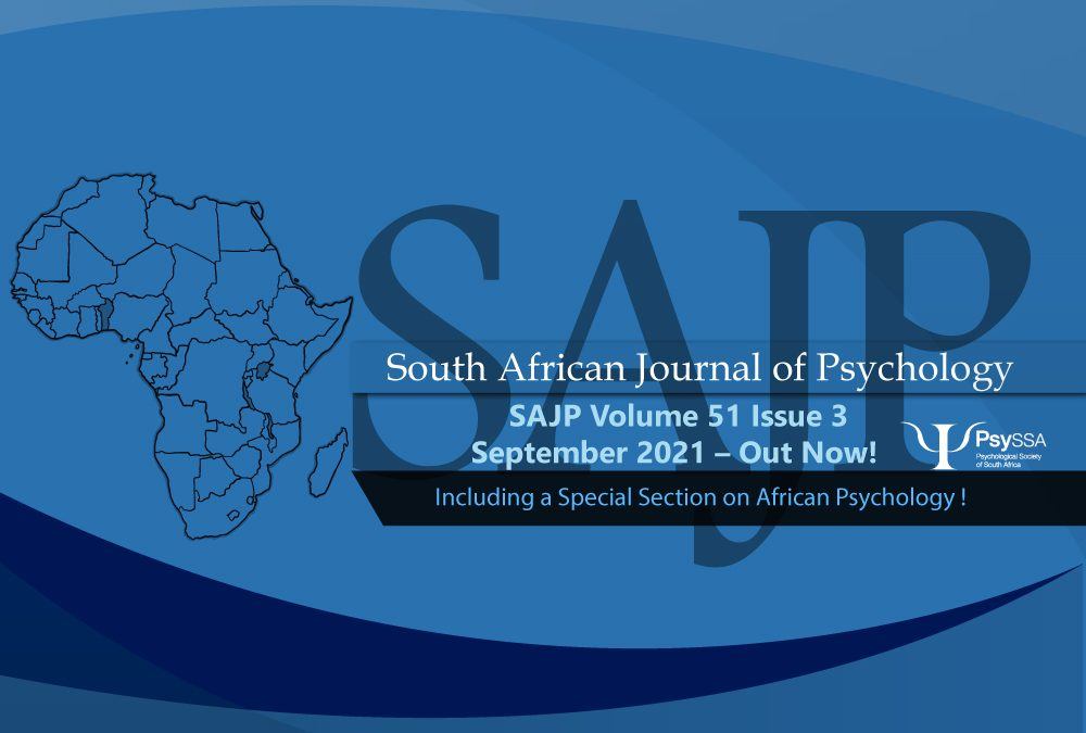 Out Now! SAJP Volume 51 Issue 3 September 2021: Special Section on African Psychology